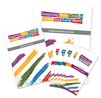 Image of the 'Inspiring Your Child to Learn and Love Math' parent toolkit components.